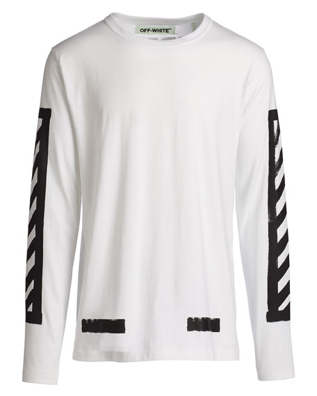 c501cb2e1d4b Off-White Brushed Lines Long-Sleeve Graphic T-Shirt, White/Black | Neiman  Marcus