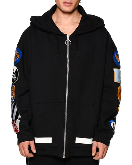 Off-White Zip-Up Hoodie w/Arm Patches, Black/White