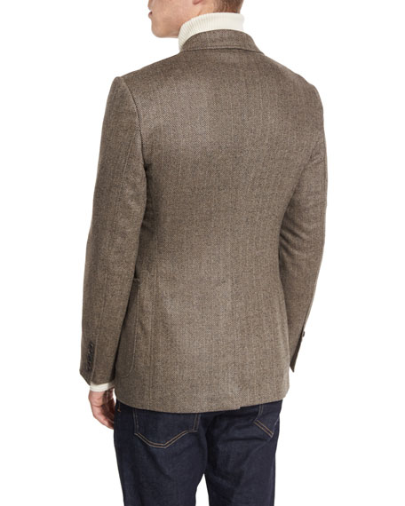 O'Connor Base Herringbone Sport Jacket, Brown
