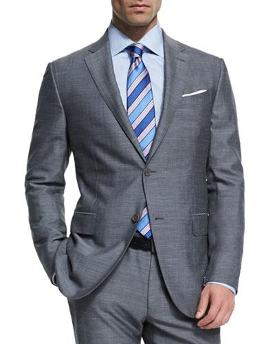 Milano Easy Herringbone Two-Piece Suit, Gray