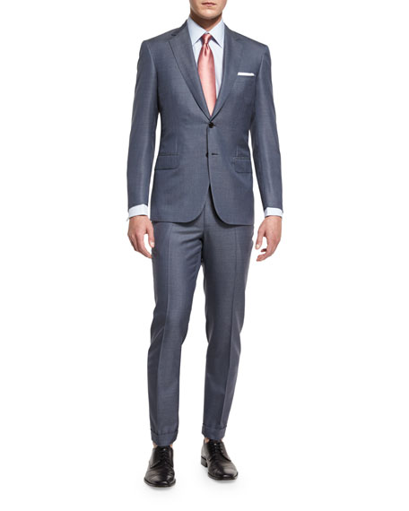 Colosseo Mini-Chevron Two-Piece Suit, Gray