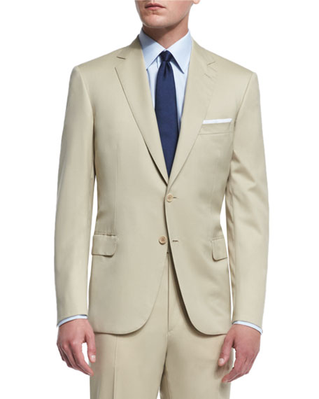 Brioni Colosseo Solid Two-Piece Wool Suit, Tan