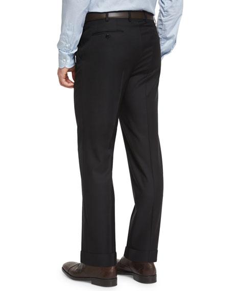 Brioni Phi Flat-Front Wool Trousers, Black