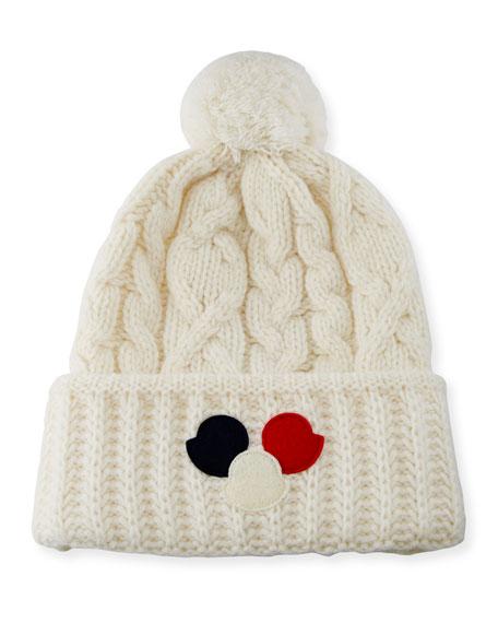 Cable-Knit Pom-Pom Beanie Hat w/Dots