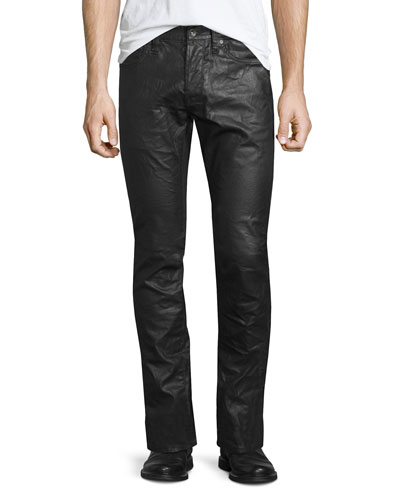 Coated Straight-Leg Denim Jeans, Black