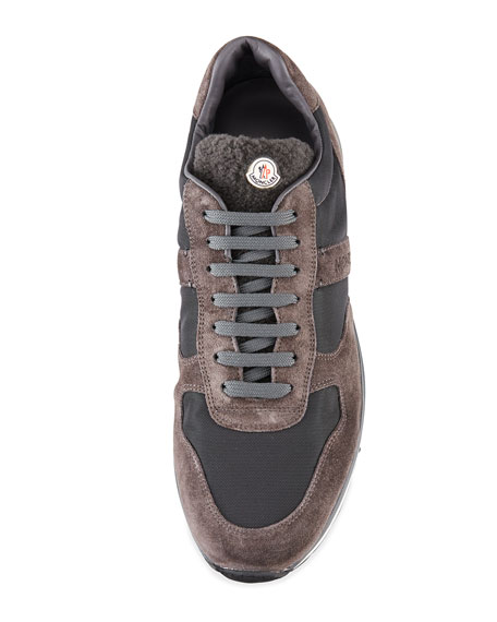 Men's Suede & Nylon Trainer Sneakers w/Shearling Tongue, Gray/Brown