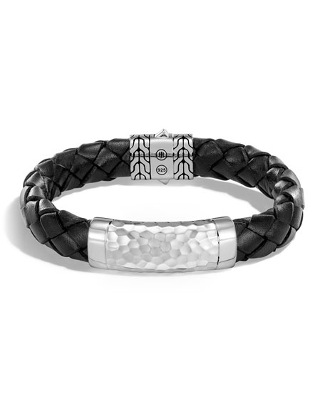 John Hardy Mens Large 12mm Classic Chain Woven Leather Bracelet, Black