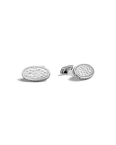 Men's Classic Chain Hammered Oval Cuff Links