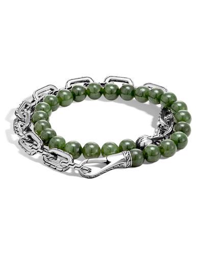 Men's Batu Double-Wrap Bead Bracelet, Green