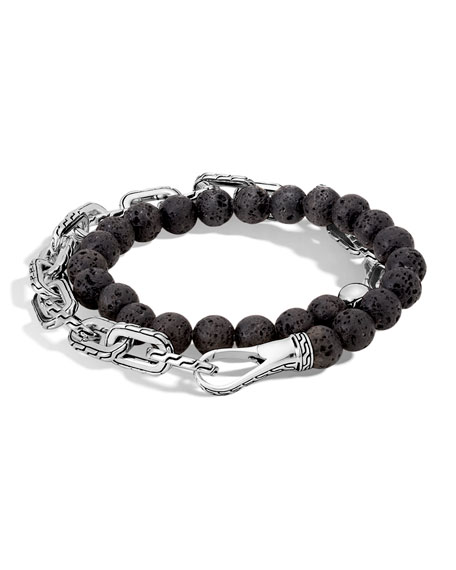 John Hardy Men's Batu Double-Wrap Bead Bracelet, Black