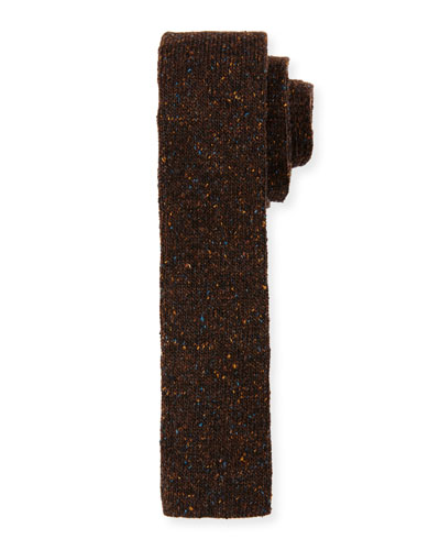 Flecked Donegal Knit Tie, Brown
