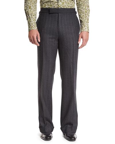 Wide-Leg Flannel Stripe Trousers, Gray