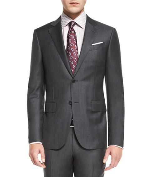 Ermenegildo Zegna Plaid Trofeo Wool Two-Piece Suit, Gray