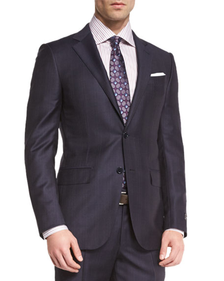 Tonal Plaid Two-Piece Suit, Navy