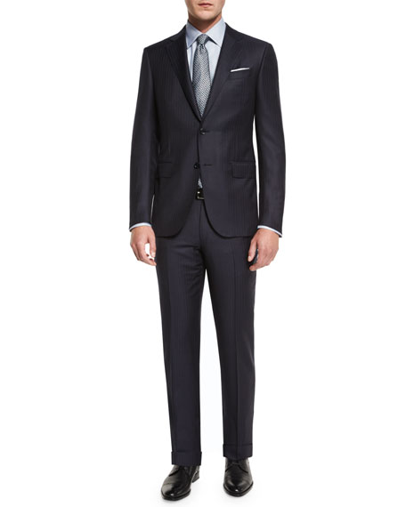 Twill Stripe Two-Piece Suit, Midnight