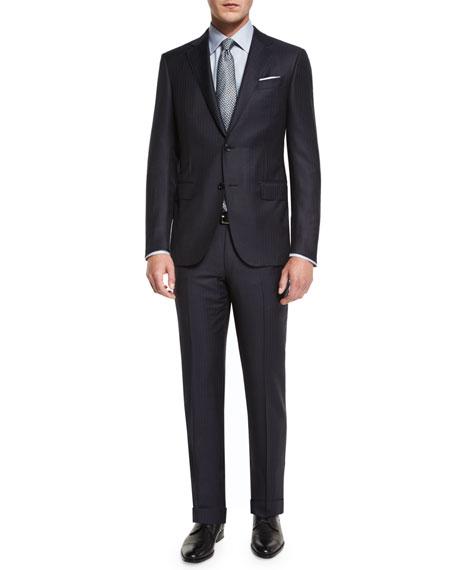 Twill Stripe Two-Piece Suit, Midnight