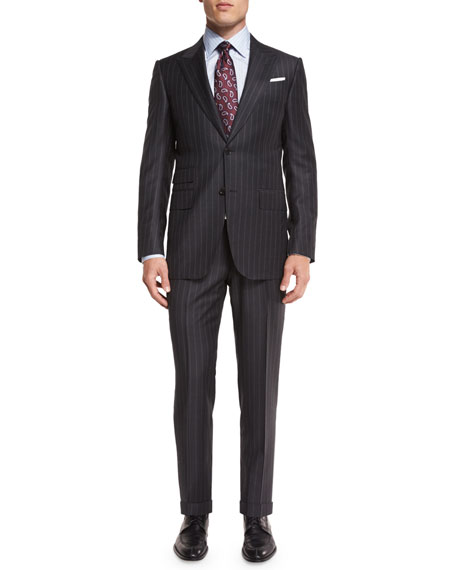 Chalk-Striped Two-Piece Suit, Gray