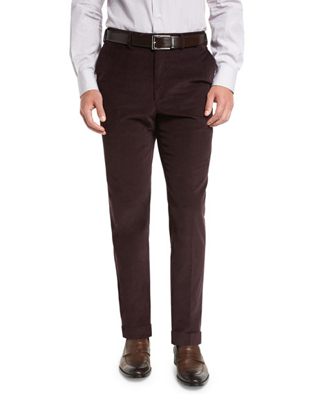 Pincord Flat-Front Trousers, Burgundy