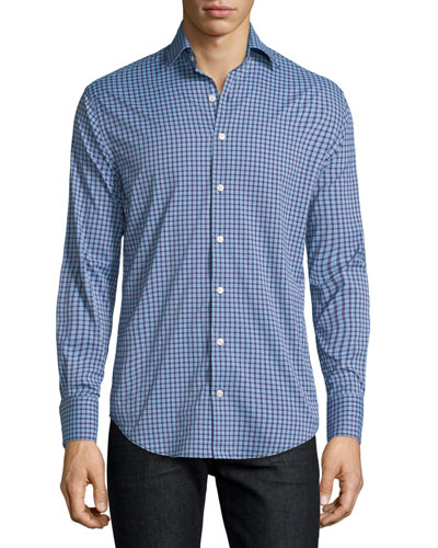 Livingstone Check Long-Sleeve Sport Shirt, Purple Mum