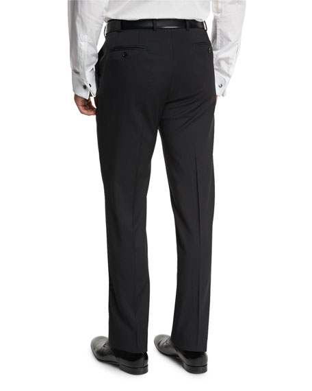 Basic Flat-Front Wool Trousers, Black