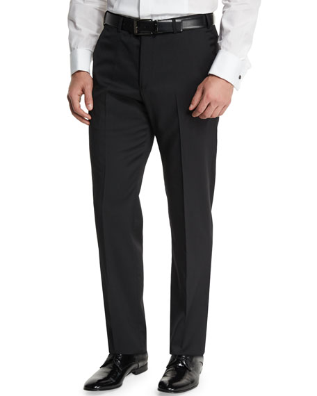 Armani Collezioni Basic Flat-Front Wool Trousers, Black