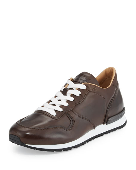 Tod's Smooth Leather Trainer Sneaker, Dark Brown