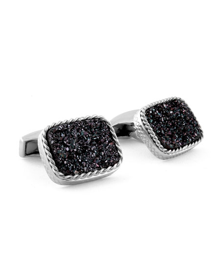Druzy Rectangle Cuff Links, Silver