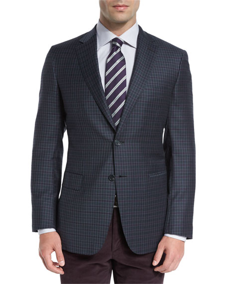 Check Two-Button Sport Coat, Green/Purple