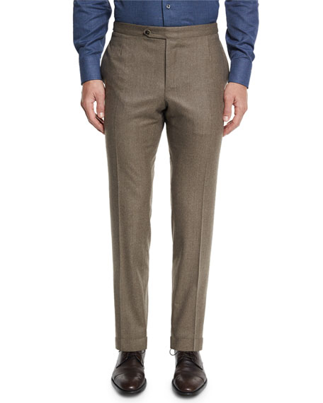 Flannel Flat-Front Trousers, Light Brown