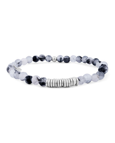Men's Round Rutilated Quartz Beaded Bracelet