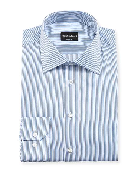 Giorgio Armani Shadow Bengal-Striped Long-Sleeve Dress Shirt