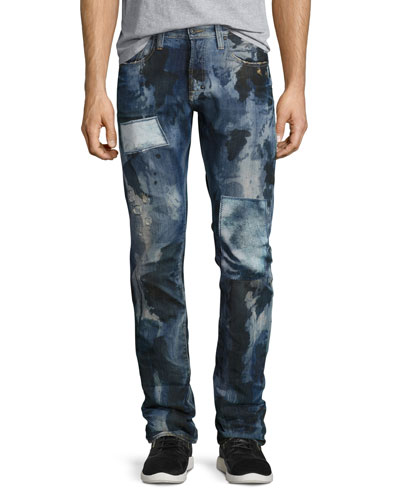 Pixel Distressed Patchwork Jeans, Dark Indigo