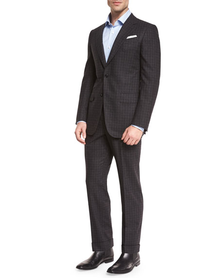 Check Two-Piece Suit, Charcoal