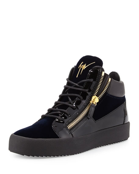 Giuseppe Zanotti Men's Velvet & Patent Leather Mid-Top