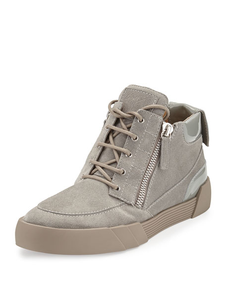 Giuseppe Zanotti Men's Suede Mid-Top Sneaker, Light Gray