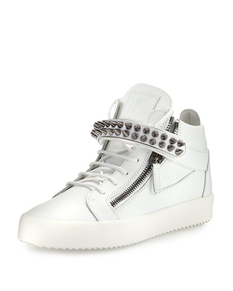 Giuseppe Zanotti Men's Studded Leather Mid-Top Sneaker