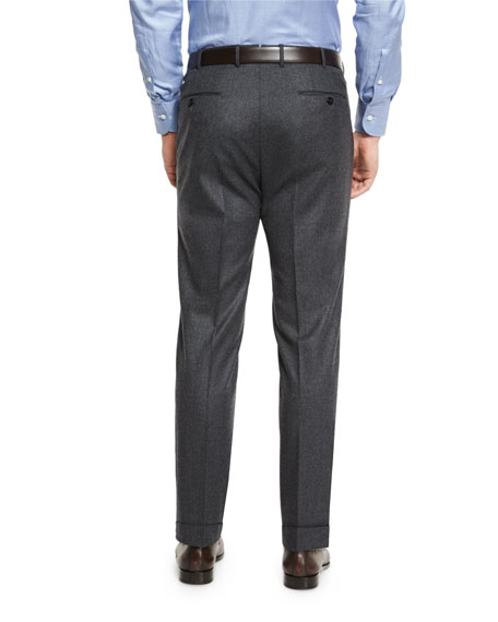 Flannel Flat-Front Trousers, Charcoal