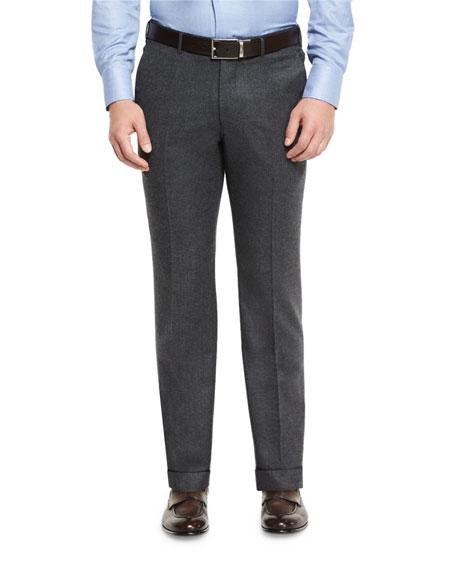 Ermenegildo Zegna Flannel Flat-Front Trousers, Charcoal