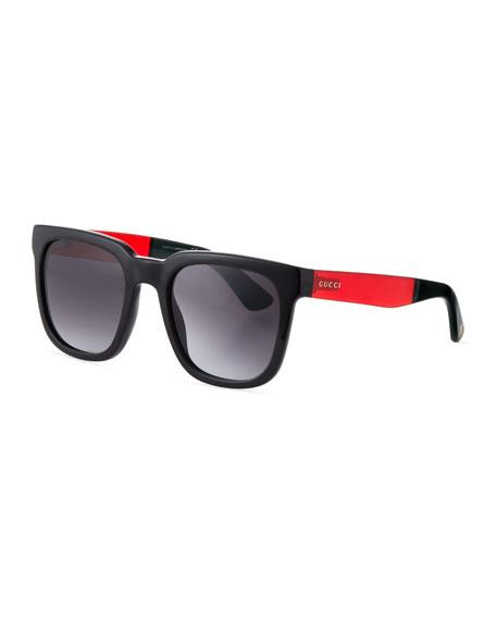 Gucci Injected Propionate Square-Frame Sunglasses, Black/Red