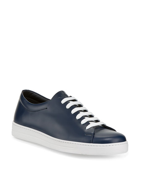 Prada Men's Calf Leather Low-Top Sneakers, Blue