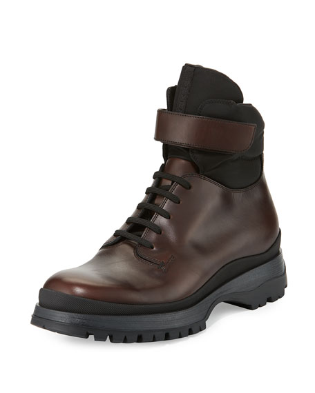 Prada Calf Leather Lace-Up Boot, Brown