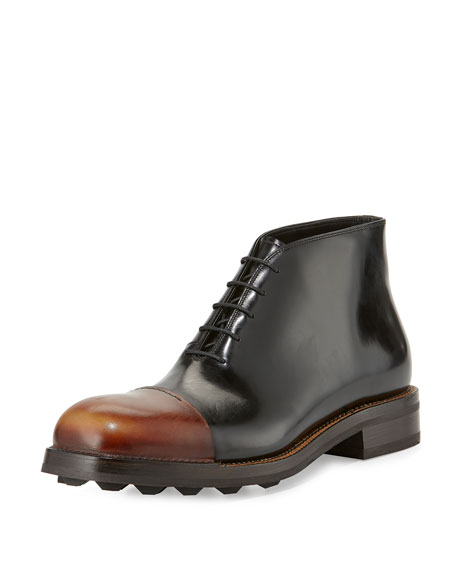 Prada Runway Leather Brushed Cap-Toe Chukka Boot, Black/Brown