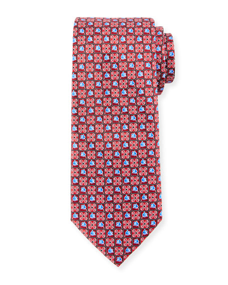 Boxed Flower-Print Silk Tie