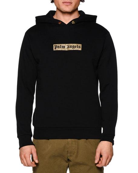 Sequin-Logo Hooded Sweatshirt, Black/Gold