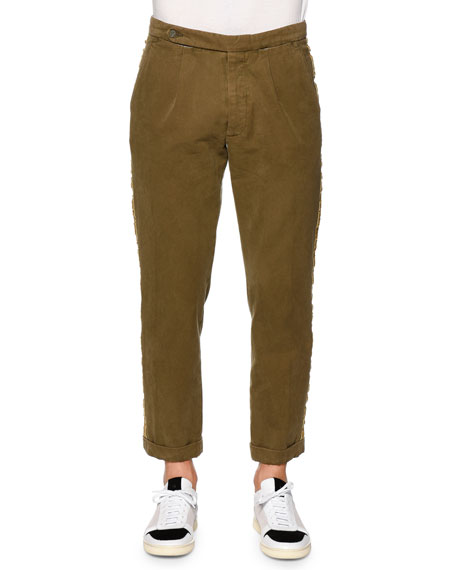 Palm Angels Classic Washed Trousers with Side-Stripe, Military
