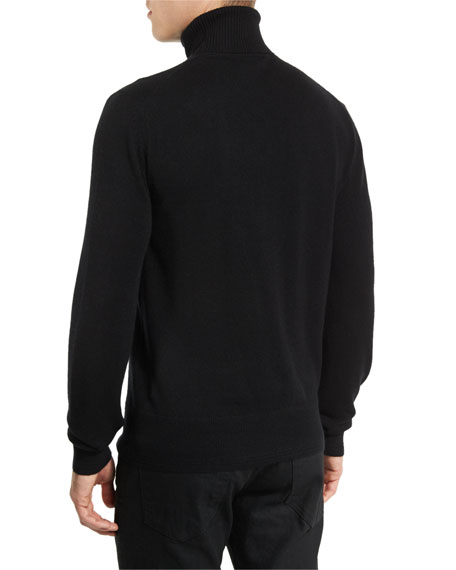 Classic Flat-Knit Cashmere Turtleneck Sweater, Black