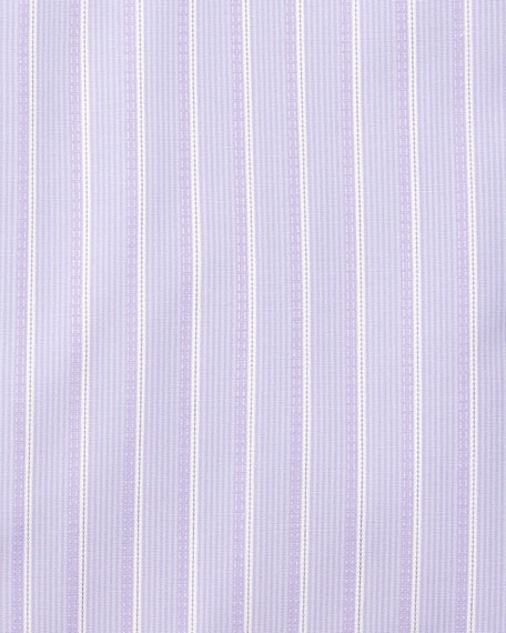 Satin-Stripe French-Cuff Dress Shirt, Purple
