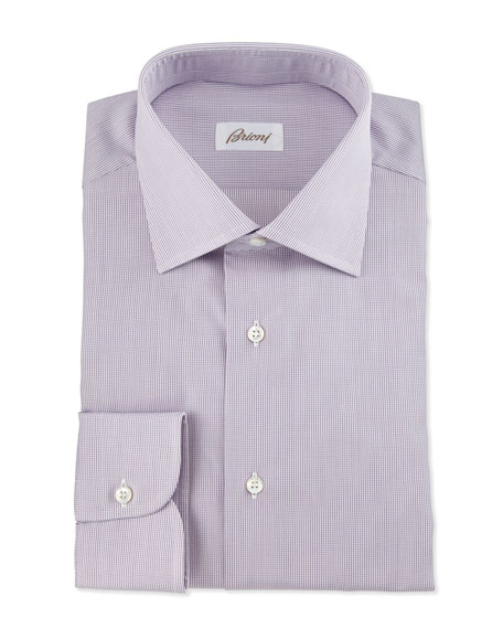 Brioni Micro-Check Dress Shirt, Burgundy