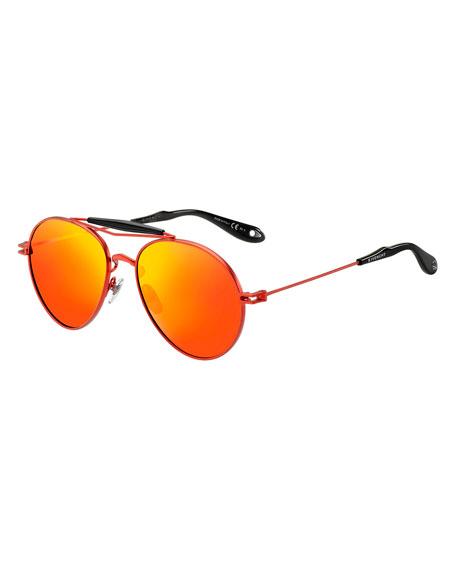 Metal Mirrored Aviator Sunglasses