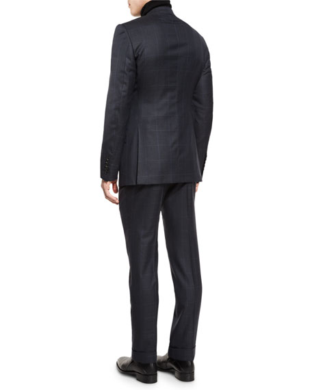 O'Connor Base Prince of Wales Two-Piece Suit, Navy